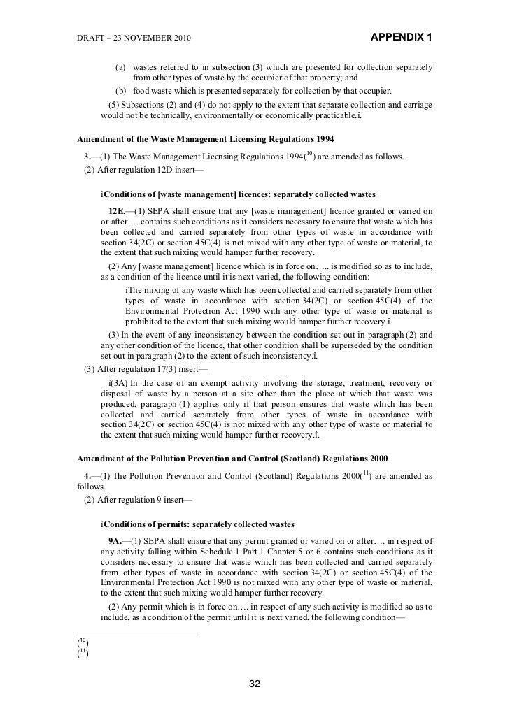 DRAFT – 23 NOVEMBER 2010                                                         APPENDIX 1          (a) wastes referred t...