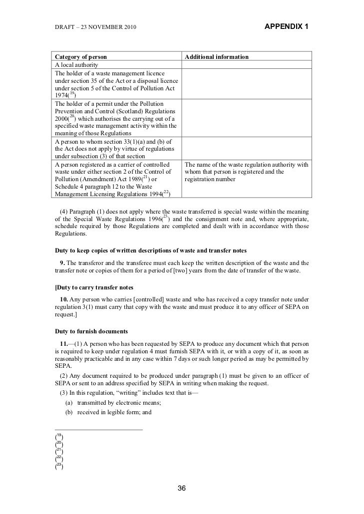 DRAFT – 23 NOVEMBER 2010                                                          APPENDIX 1Category of person            ...