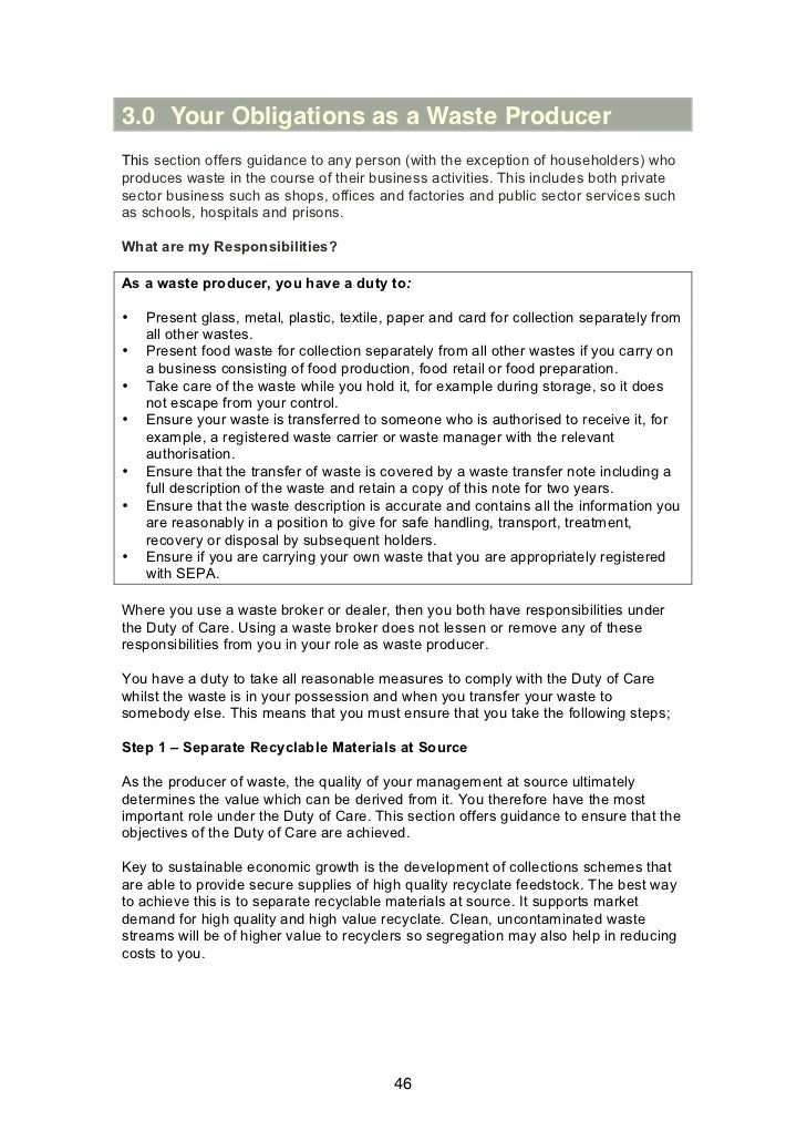 3.0 Your Obligations as a Waste ProducerThis section offers guidance to any person (with the exception of householders) wh...