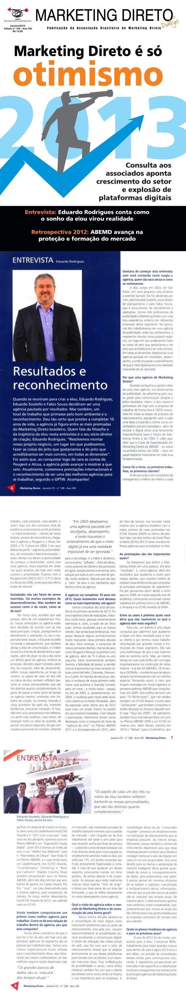 Entrevista Eduardo Rodrigues (e|ou) - Revista Marketing Direto (ABEMD) nº 128, janeiro de 2013