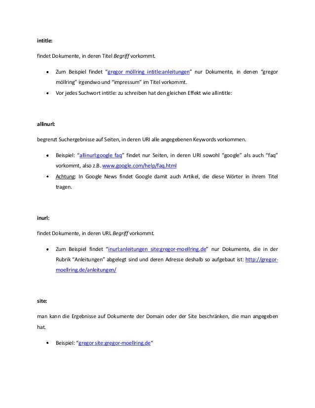 Wichtige Google Suchoperatoren Slide 3