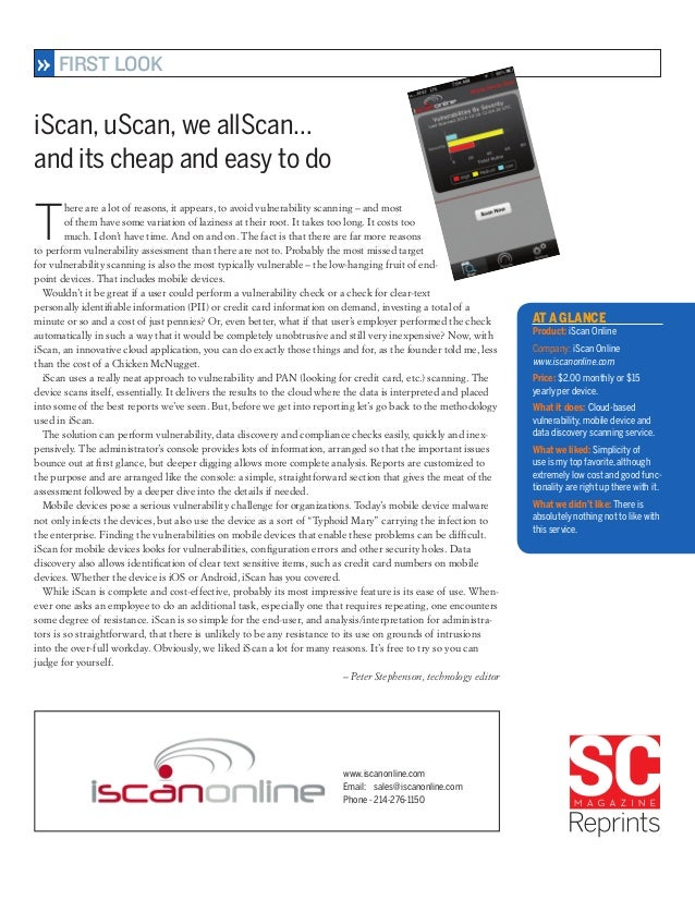 iScan Online for Mobile - First Look by SC Magazine