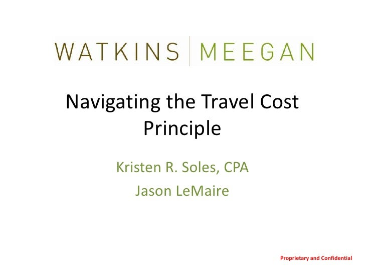 01182011 Navigating the Travel Cost Principle