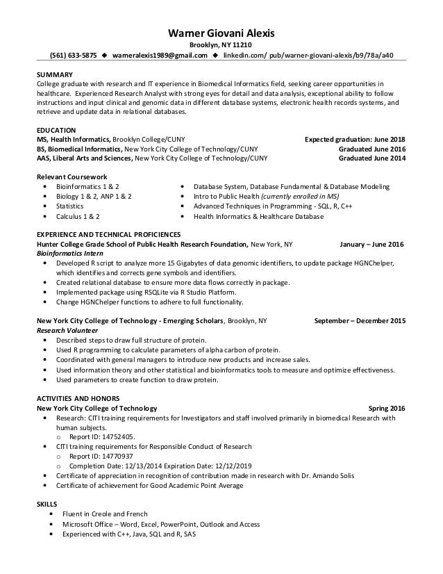 Alexis Warner Giovani Medical Informatics Resume 10 20 16