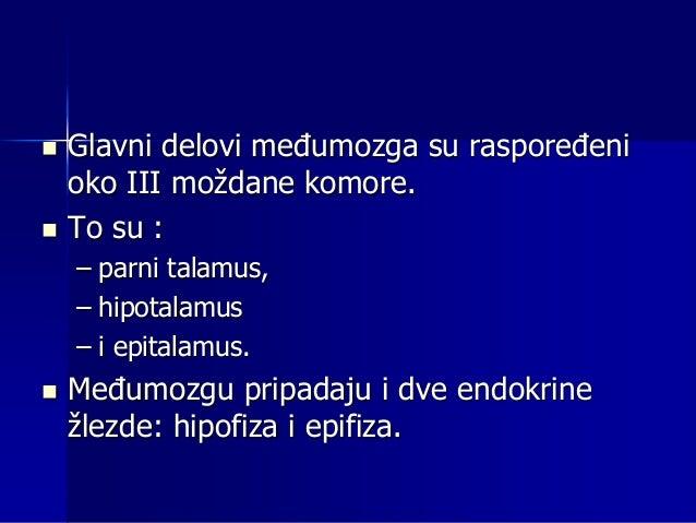 Talamus  Talamus, najveći deo međumozga, sadrži veliki broj jedara koja se dele na – specifična i – nespecifična.  U spe...