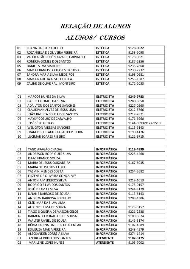 RELAÇÃO DE ALUNOS ALUNOS/ CURSOS 01 02 03 04 05 06 07 08 09  LUANA DA CRUZ COELHO ROZANGELA DE OLIVEIRA FERREIRA VALÉRIA S...