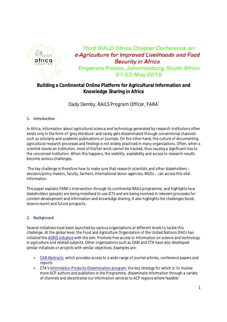 Building a Continental Online Platform for Agricultural Information and                             Knowledge Sharing in A...