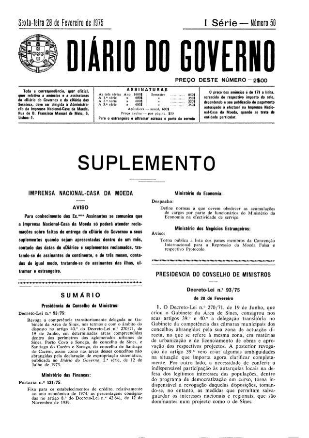 GABINETE DA ÁREA DE SINES - Decreto-lei 93/75, de 28 de Fevereiro