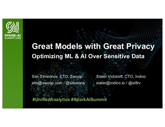 Great Models with Great Privacy Optimizing ML & AI Over Sensitive Data Sim Simeonov, CTO, Swoop sim@swoop.com / @simeons S...