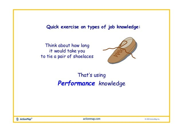 Think about how long it would take you to tie a pair of shoelaces That's using Performance knowledge Quick exercise on typ...