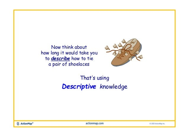 Now think about how long it would take you to describe how to tie a pair of shoelaces That's using Descriptive knowledge