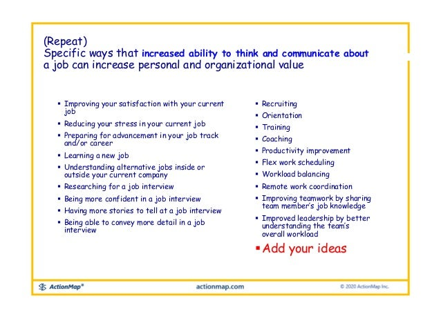  Improving your satisfaction with your current job  Reducing your stress in your current job  Preparing for advancement...