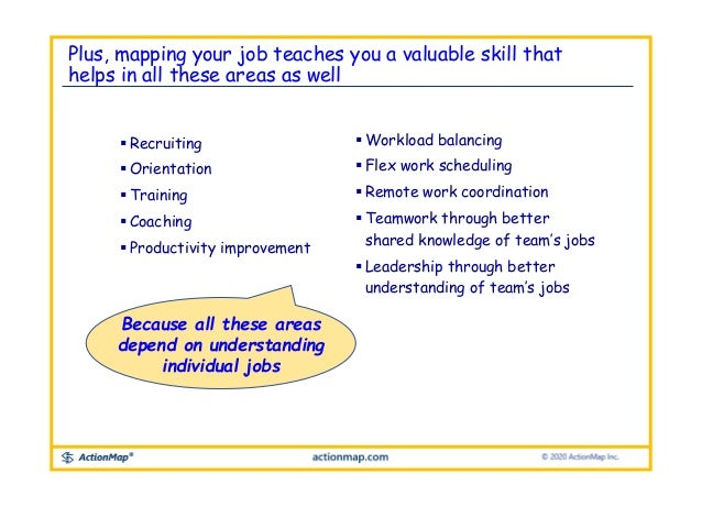 Plus, mapping your job teaches you a valuable skill that helps in all these areas as well  Recruiting  Orientation  Tra...