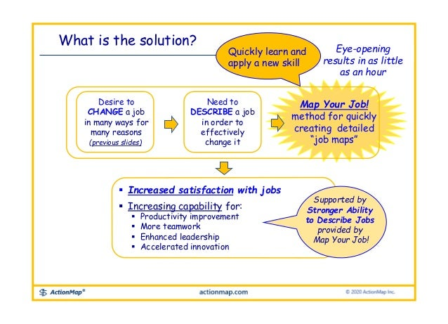 Desire to CHANGE a job in many ways for many reasons (previous slides). Need to DESCRIBE a job in order to effectively cha...