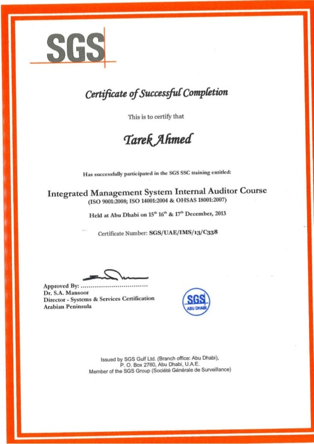 Internal Auditing Certificate