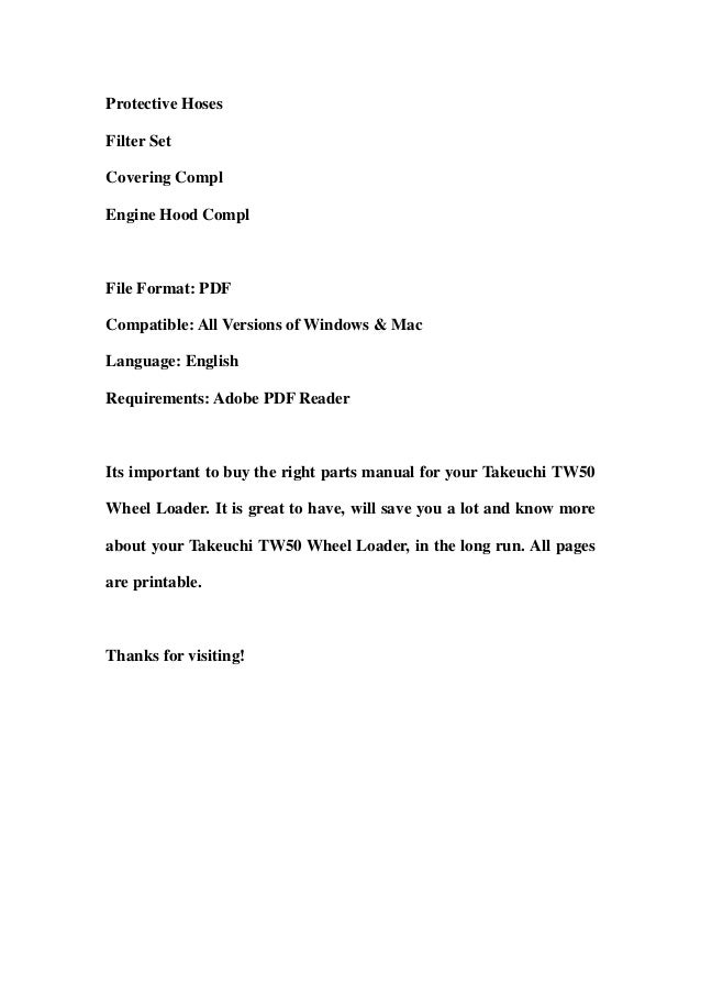 Takeuchi TW50 Wheel Loader Parts Manual DOWNLOAD (SN