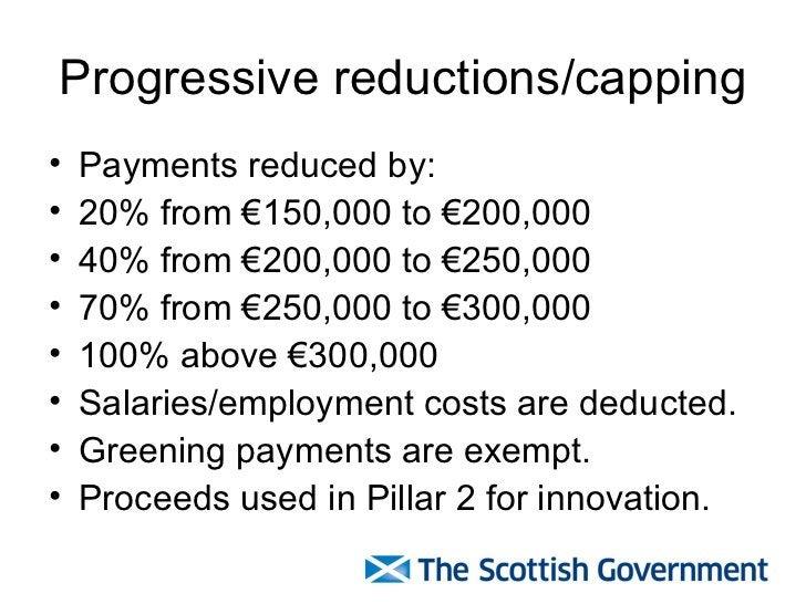 Progressive reductions/capping <ul><li>Payments reduced by: </li></ul><ul><li>20% from €150,000 to €200,000  </li></ul><ul...