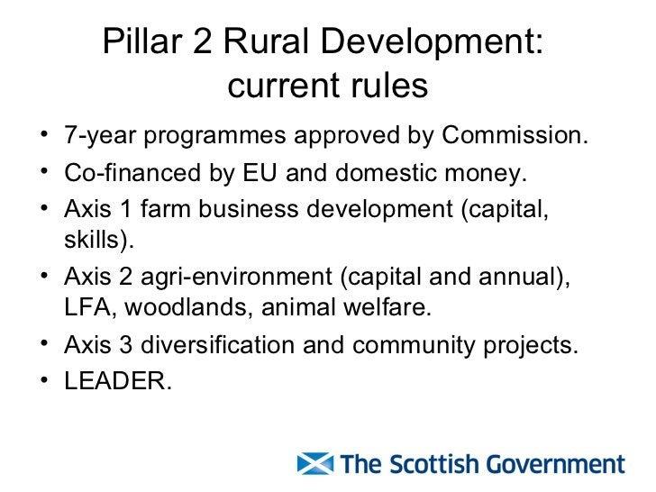 Pillar 2 Rural Development:  current rules <ul><li>7-year programmes approved by Commission. </li></ul><ul><li>Co-financed...