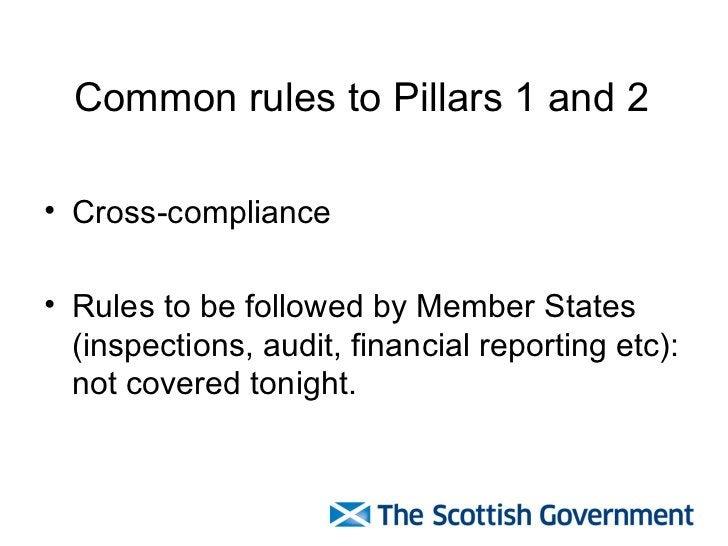 Common rules to Pillars 1 and 2 <ul><li>Cross-compliance </li></ul><ul><li>Rules to be followed by Member States (inspecti...