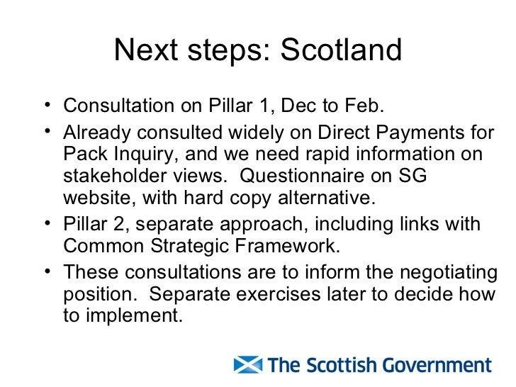Next steps: Scotland <ul><li>Consultation on Pillar 1, Dec to Feb. </li></ul><ul><li>Already consulted widely on Direct Pa...