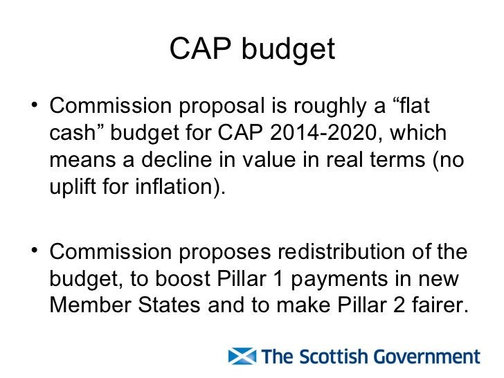 """CAP budget <ul><li>Commission proposal is roughly a """"flat cash"""" budget for CAP 2014-2020, which means a decline in value i..."""