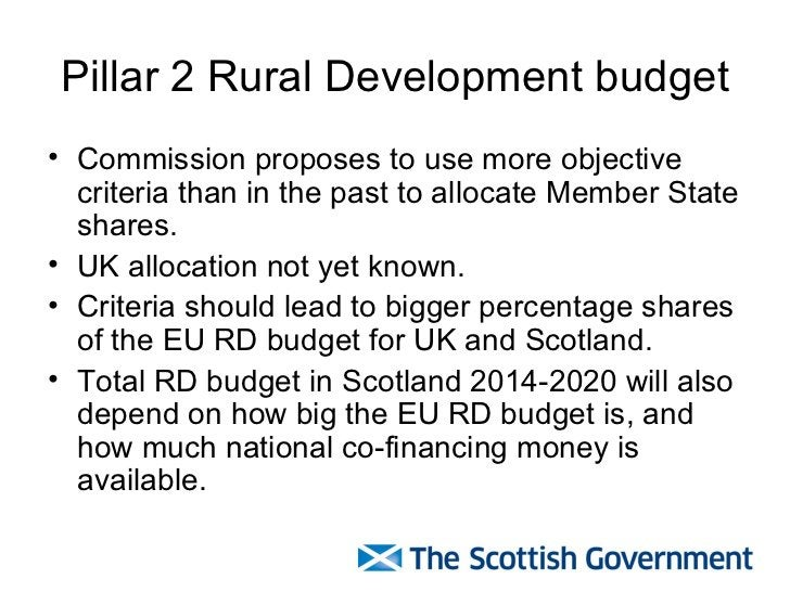 Pillar 2 Rural Development budget <ul><li>Commission proposes to use more objective criteria than in the past to allocate ...