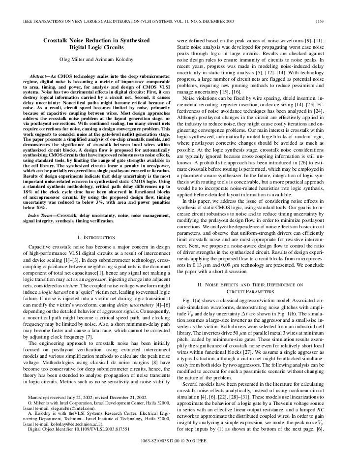 IEEE TRANSACTIONS ON VERY LARGE SCALE INTEGRATION (VLSI) SYSTEMS, VOL. 11, NO. 6, DECEMBER 2003                           ...