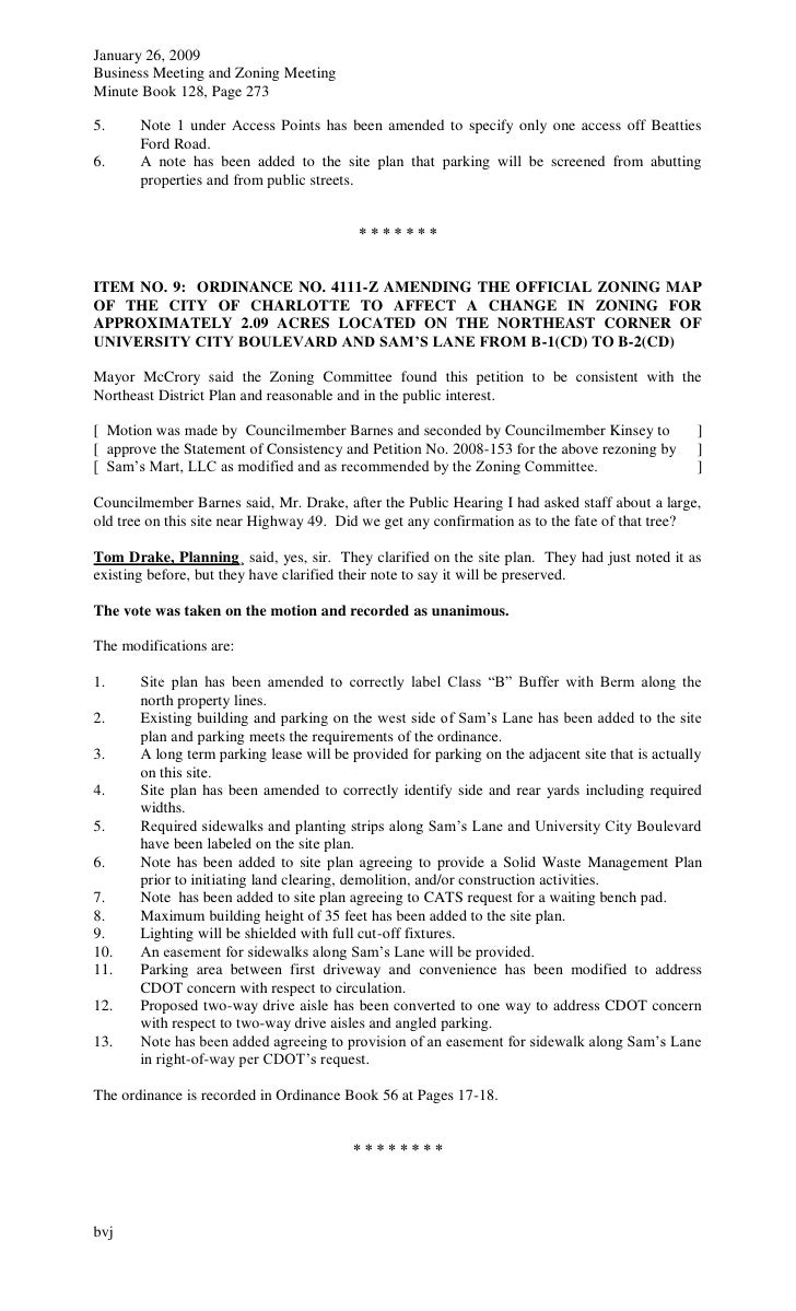 charlotte city council meeting minutes january 26 2009