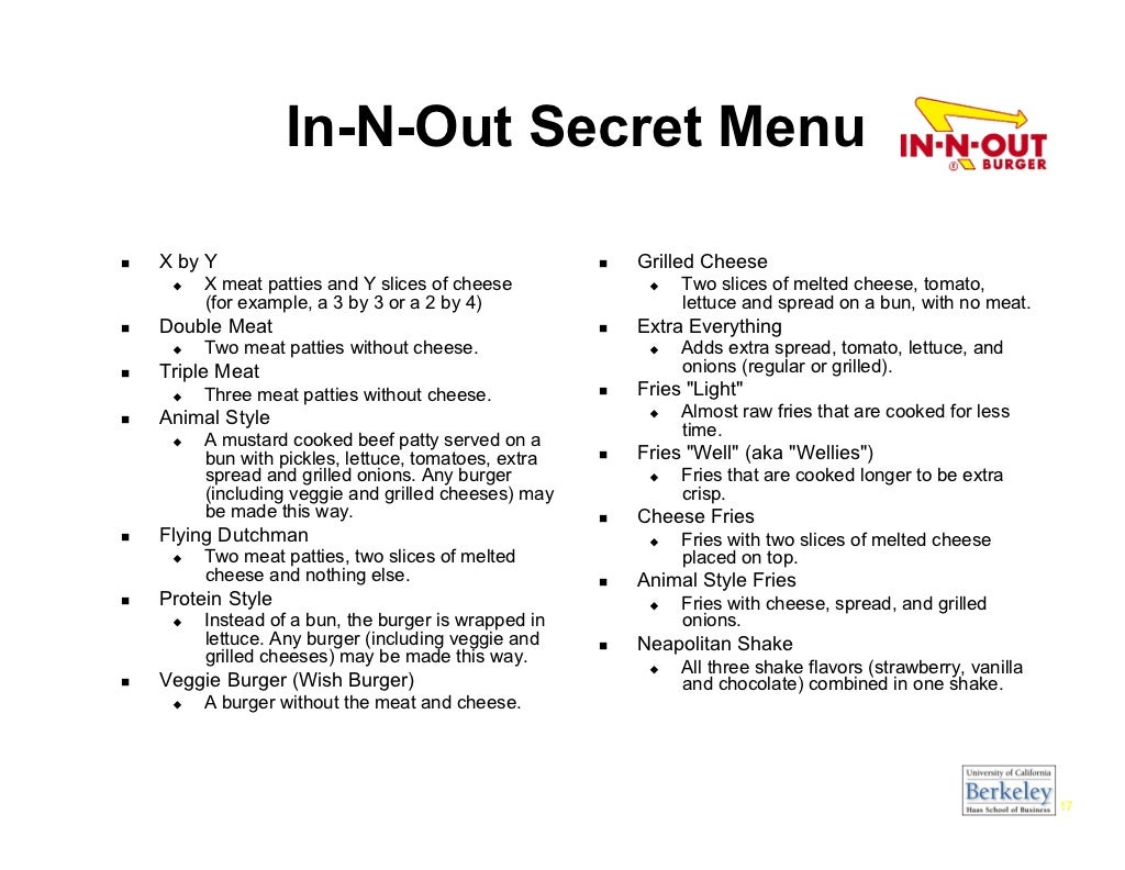 In N Out Menu >> In-N-Out Secret Menu X
