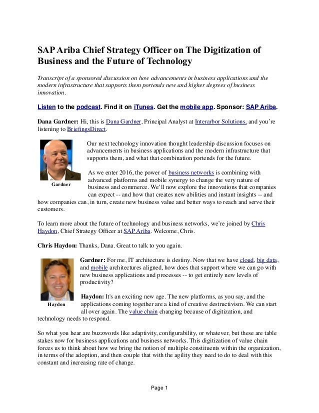 SAPAriba Chief Strategy Officer on The Digitization of Business and the Future of Technology Transcript of a sponsored dis...