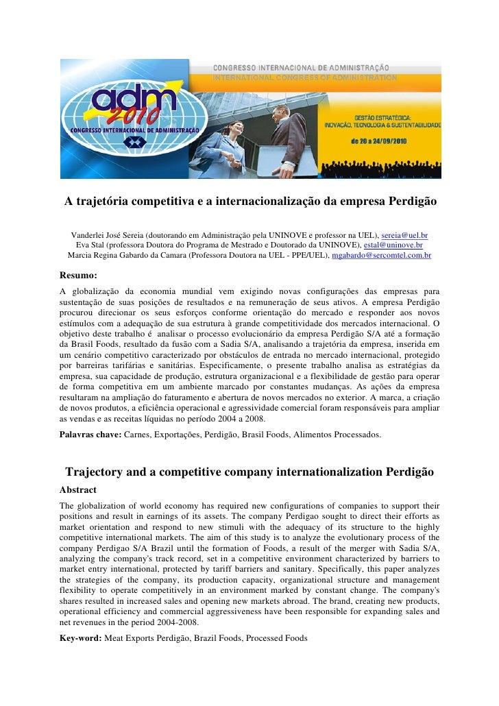 A trajetória competitiva e a internacionalização da empresa Perdigão