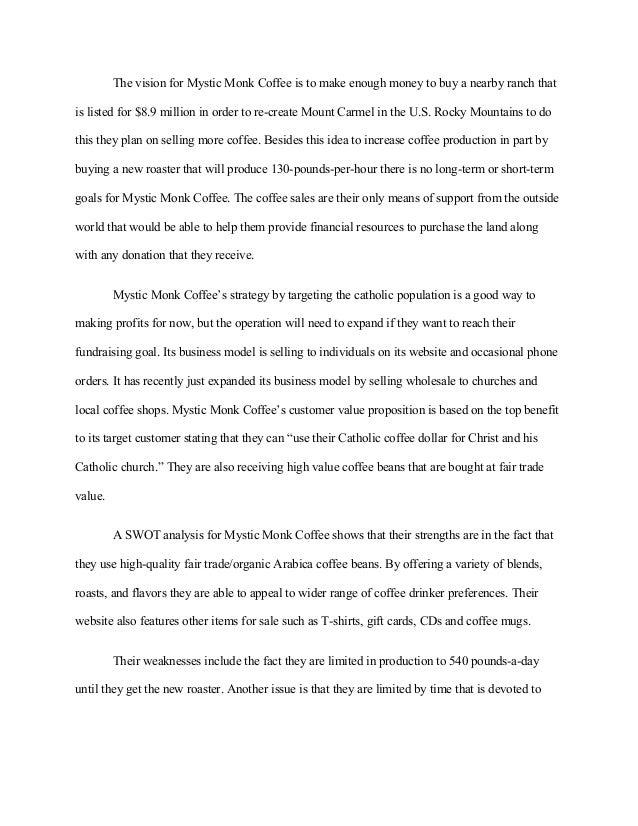 mystic monk coffee case study swot analysis