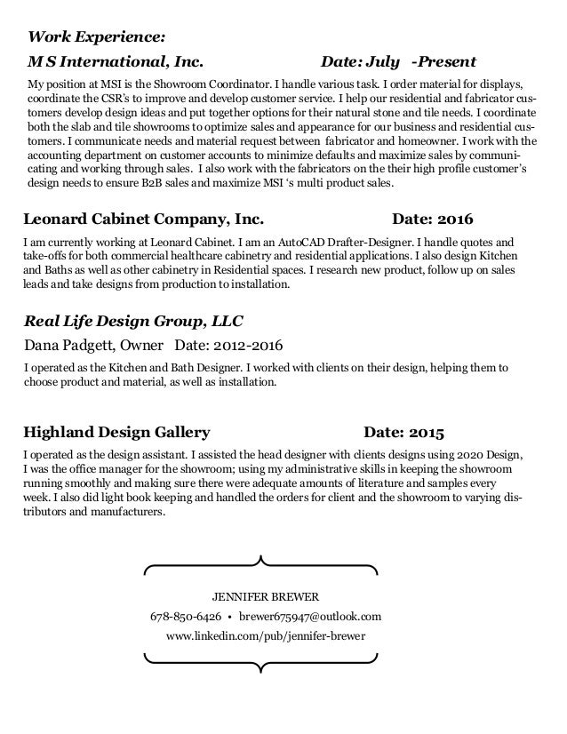 Kitchen And Bath Business Owner Resume