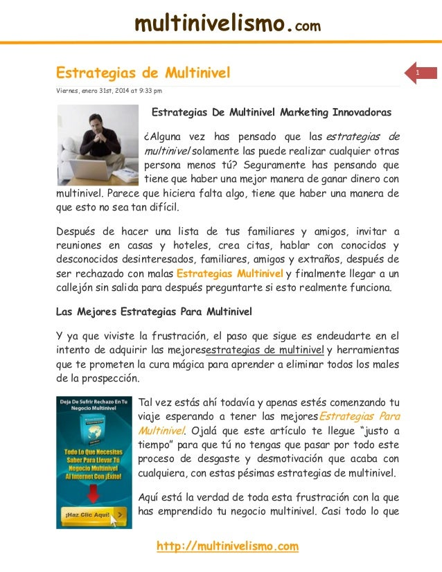 multinivelismo.com Estrategias de Multinivel Viernes, enero 31st, 2014 at 9:33 pm  Estrategias De Multinivel Marketing Inn...