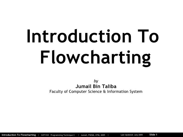 Introduction To  Flowcharting by Jumail Bin Taliba Faculty of Computer Science & Information System