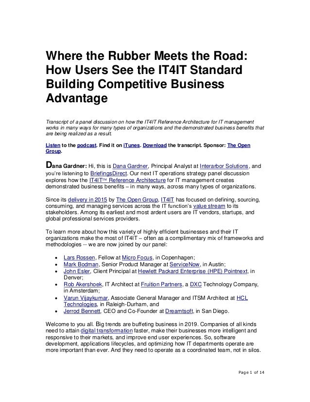 Page 1 of 14 Where the Rubber Meets the Road: How Users See the IT4IT Standard Building Competitive Business Advantage Tra...