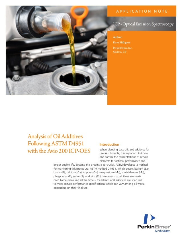 Analysis of Oil Additives Following ASTM D4951 with the Avio 200 ICP-…