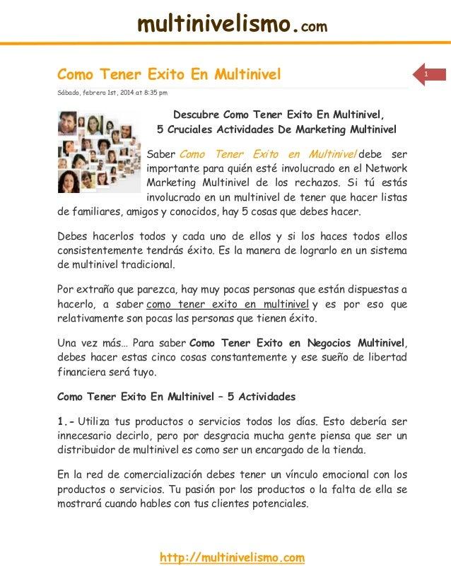 multinivelismo.com Como Tener Exito En Multinivel Sábado, febrero 1st, 2014 at 8:35 pm  Descubre Como Tener Exito En Multi...