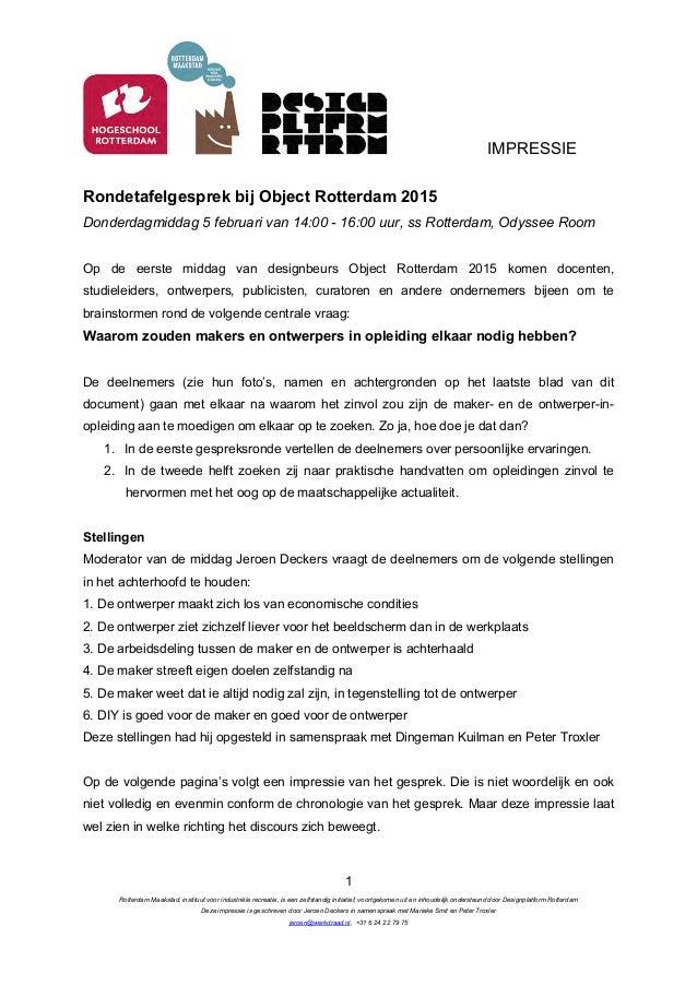 IMPRESSIE Rotterdam Maakstad, instituut voor industriële recreatie, is een zelfstandig initiatief, voortgekomen uit en inh...