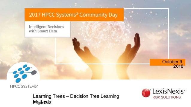 October 9, 2018 Roger Dev Learning Trees – Decision Tree Learning Methods