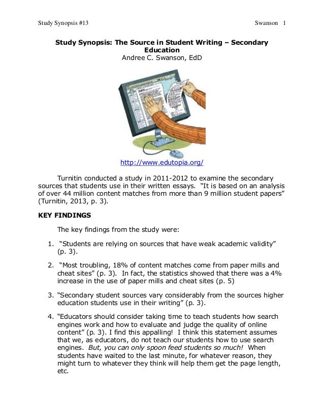 Study Synopsis #13 Swanson 1Study Synopsis: The Source in Student Writing – SecondaryEducationAndree C. Swanson, EdDhttp:/...