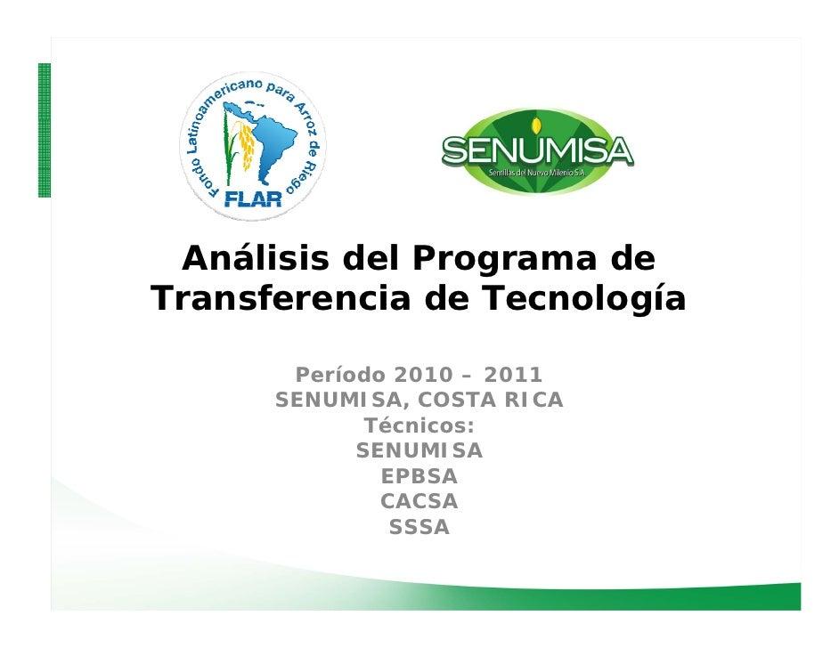 Análisis del Programa deTransferencia de Tecnología                         í       Período 2010 – 2011          í      SE...