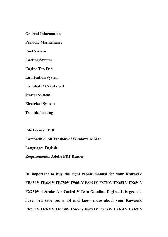 kawasaki fr651v fr691v fr730v fs651v fs691v fs730v fx651v fx691v fx73 rh slideshare net Kawasaki FH680V Parts Kawasaki FH680V Parts