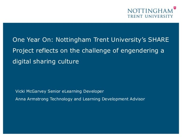 One Year On: Nottingham Trent University's SHARE Project reflects on the challenge of engendering a digital sharing cultur...