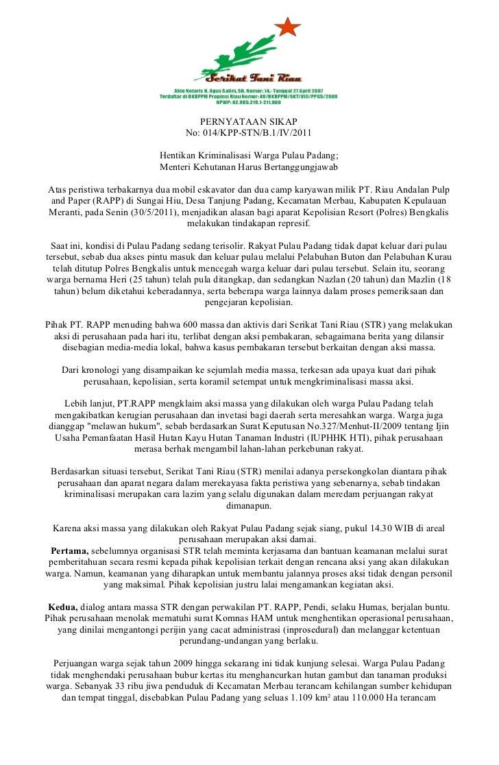 PERNYATAAN SIKAP                                   No: 014/KPP-STN/B.1/IV/2011                            Hentikan Krimina...