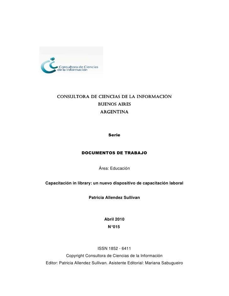 CONSULTORA DE CIENCIAS DE LA INFORMACIÓN                             BUENOS AIRES                              ARGENTINA  ...