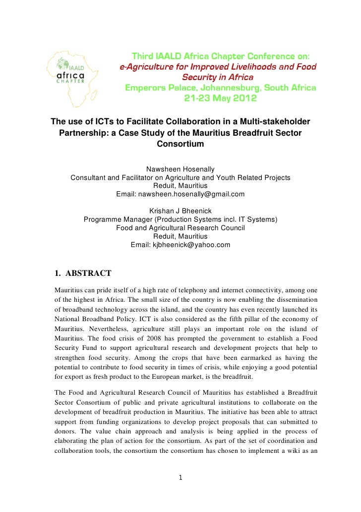 The use of ICTs to Facilitate Collaboration in a Multi-stakeholder  Partnership: a Case Study of the Mauritius Breadfruit ...