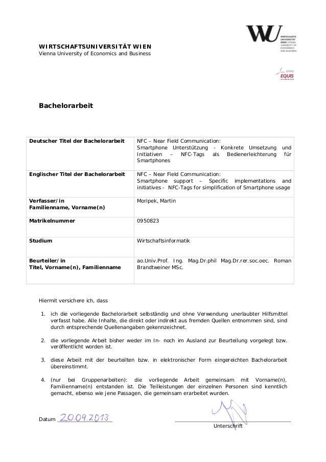 WIRTSCHAFTSUNIVERSITÄT WIEN Vienna University of Economics and Business Bachelorarbeit Hiermit versichere ich, dass 1. ich...