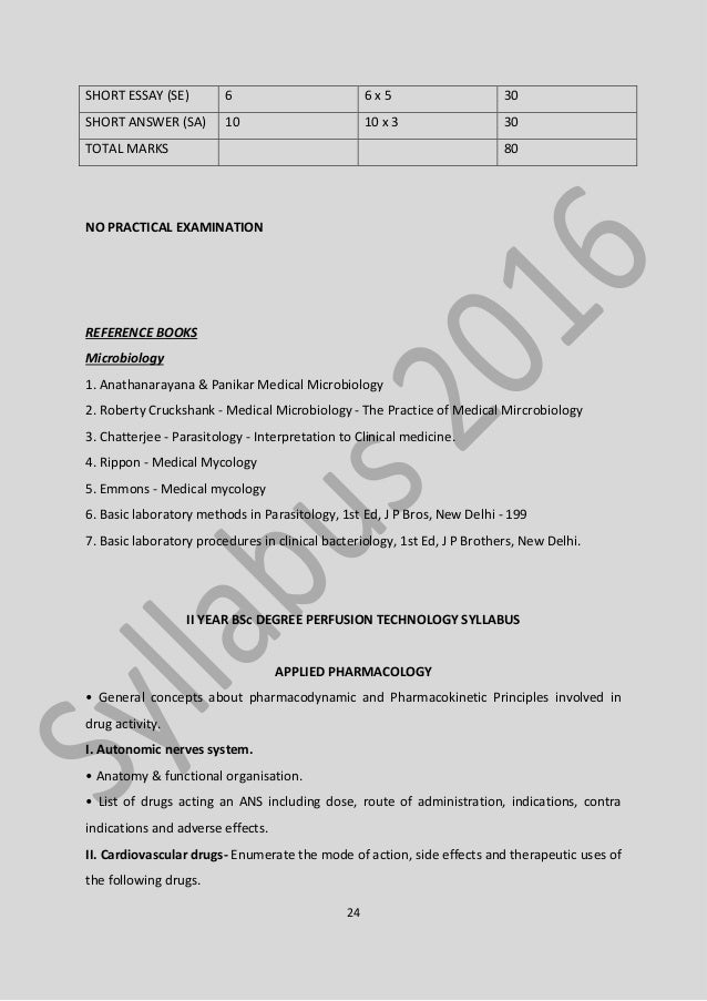 b sc perfusion technology syllabus