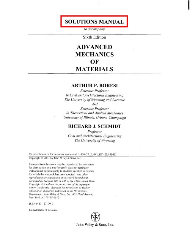 016 advancedmechanicsofmaterials6theditionsolutionsmanual boresi 0471 rh slideshare net